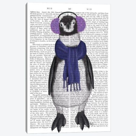 Penguin Ear Muffs Book Print Canvas Print #FNK1861} by Fab Funky Canvas Art Print