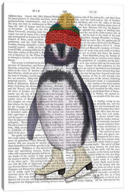 Penguin Ice Skating Book Print Canvas Art Print