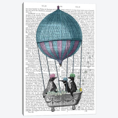 Penguins in Balloon Bath Book Print Canvas Print #FNK1867} by Fab Funky Canvas Artwork