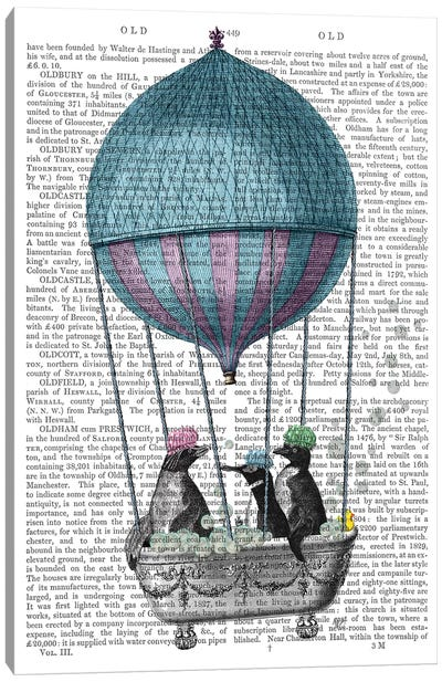 Penguins in Balloon Bath Book Print Canvas Art Print