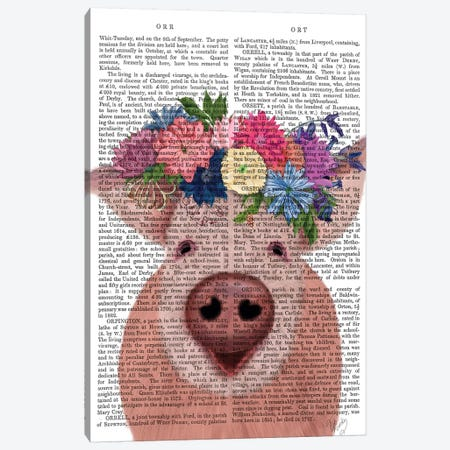 Pig and Flower Crown Book Print 3-Piece Canvas #FNK1870} by Fab Funky Canvas Wall Art
