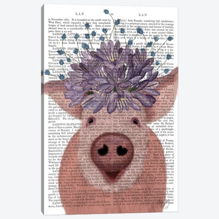 Pig and Lilac Flowers Book Print 3-Piece Canvas #FNK1871} by Fab Funky Canvas Wall Art