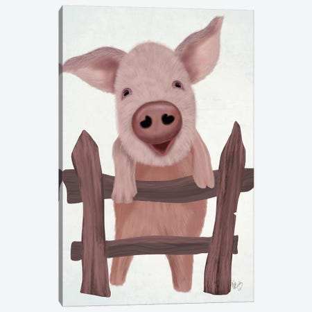 Pig On Fence Canvas Print #FNK1872} by Fab Funky Canvas Wall Art