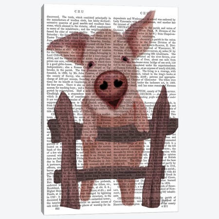Pig On Fence Book Print Canvas Print #FNK1873} by Fab Funky Canvas Artwork