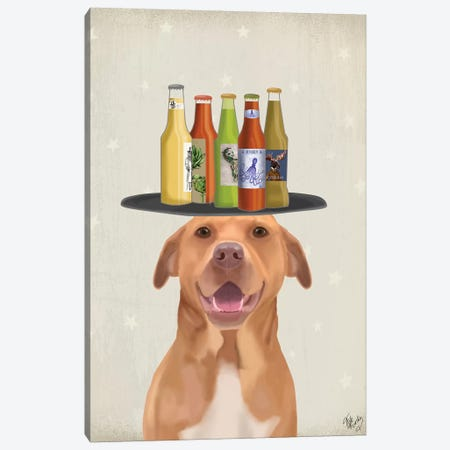 Pit Bull Beer Lover Canvas Print #FNK1875} by Fab Funky Canvas Print