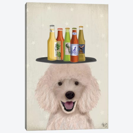 Poodle Beer Lover Canvas Print #FNK1876} by Fab Funky Canvas Print