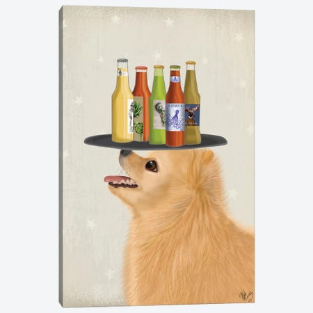 Pomeranian Beer Lover Canvas Print #FNK1877} by Fab Funky Canvas Art Print