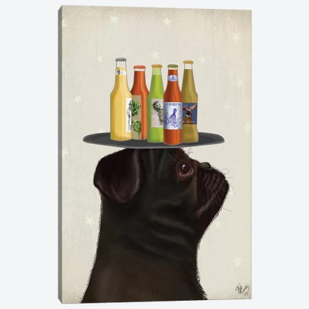 Pug Black Beer Lover Canvas Print #FNK1880} by Fab Funky Canvas Print
