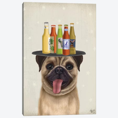 Pug Fawn Beer Lover Canvas Print #FNK1881} by Fab Funky Canvas Print