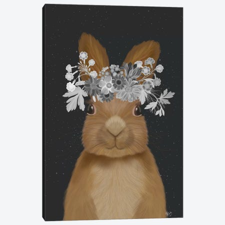 Rabbit, White Flowers Canvas Print #FNK1884} by Fab Funky Canvas Art