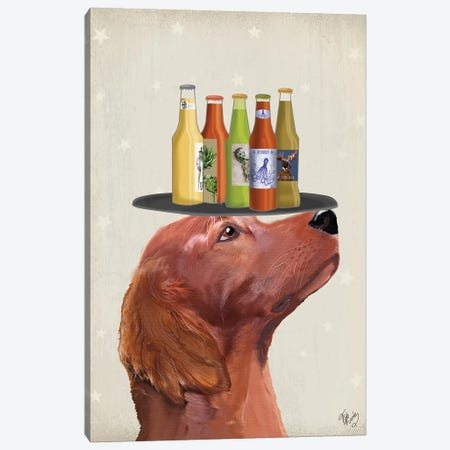 Red Setter Beer Lover Canvas Print #FNK1885} by Fab Funky Canvas Art