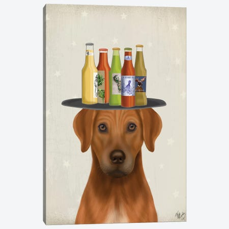 Rhodesian Ridgeback Beer Lover Canvas Print #FNK1886} by Fab Funky Canvas Wall Art