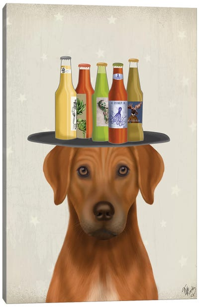 Rhodesian Ridgeback Beer Lover Canvas Art Print