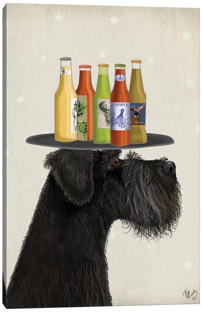 Schnauzer Black Beer Lover Canvas Art Print