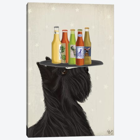 Scottish Terrier Beer Lover Canvas Print #FNK1890} by Fab Funky Canvas Wall Art