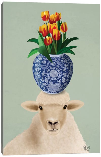 Sheep and Tulips Canvas Art Print