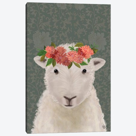 Sheep Bohemian 1 Canvas Print #FNK1893} by Fab Funky Canvas Wall Art