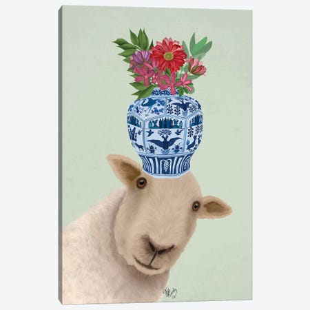 Sheep with Vase of Flowers Canvas Print #FNK1895} by Fab Funky Art Print