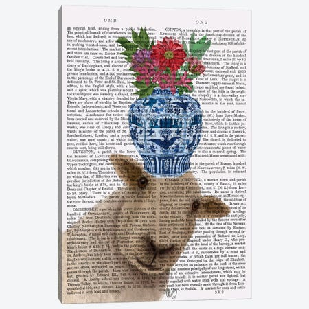 Sheep with Vase of Flowers Book Print Canvas Print #FNK1896} by Fab Funky Art Print