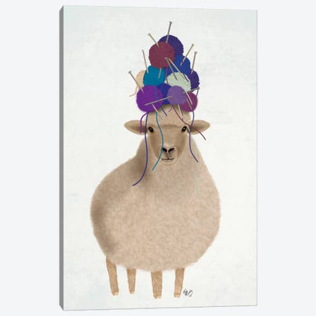 Sheep with Wool Hat, Full Canvas Print #FNK1897} by Fab Funky Art Print
