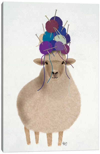 Sheep with Wool Hat, Full Canvas Art Print
