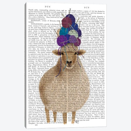 Sheep with Wool Hat, Full Book Print Canvas Print #FNK1898} by Fab Funky Canvas Wall Art