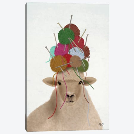 Sheep with Wool Hat, Portrait Canvas Print #FNK1899} by Fab Funky Canvas Art