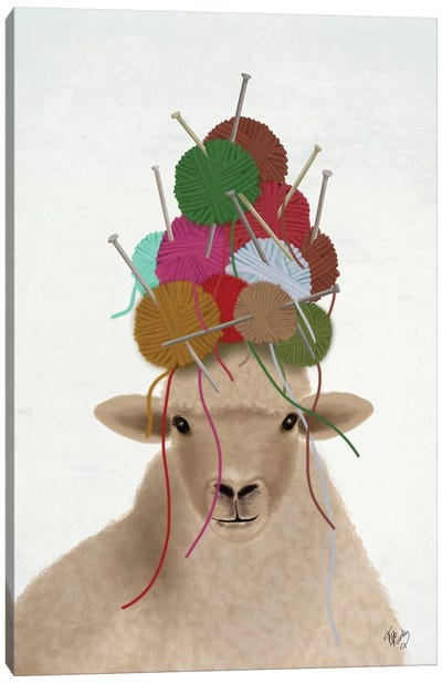 Sheep with Wool Hat, Portrait Canvas Art Print