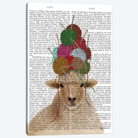 Sheep with Wool Hat, Portrait Book Print Canvas Print #FNK1900} by Fab Funky Canvas Wall Art