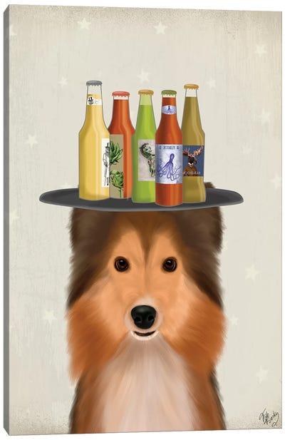 Shetland Sheepdog Beer Lover Canvas Art Print