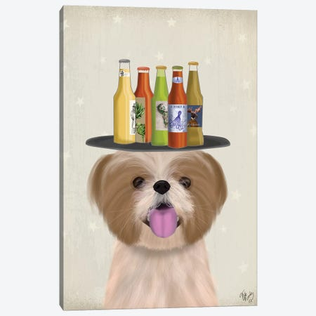 Shih Tzu Beer Lover Canvas Print #FNK1902} by Fab Funky Canvas Artwork