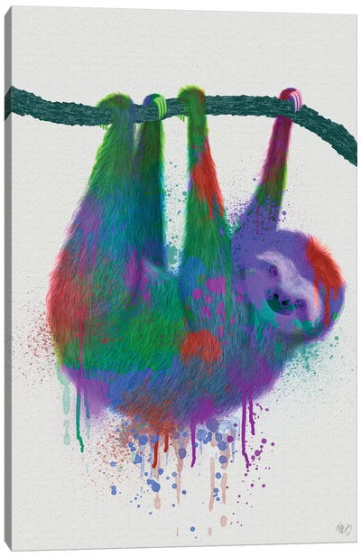 Sloth Rainbow Splash Canvas Art Print
