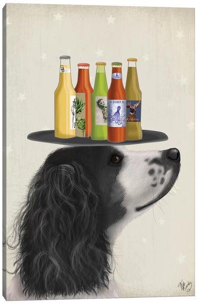Springer Spaniel Black White Beer Lover Canvas Art Print