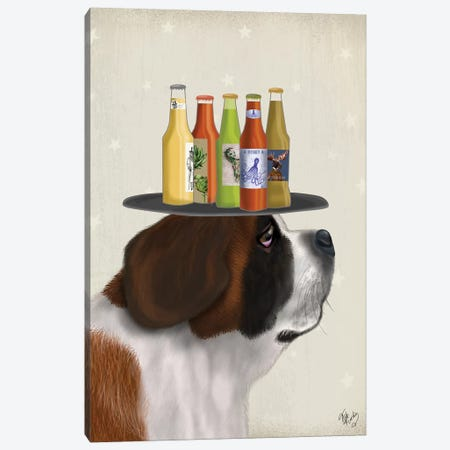 St Bernard Beer Lover Canvas Print #FNK1908} by Fab Funky Canvas Wall Art