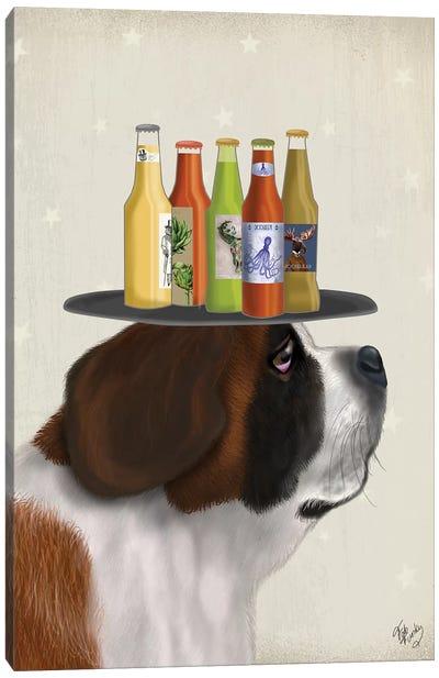 St Bernard Beer Lover Canvas Art Print