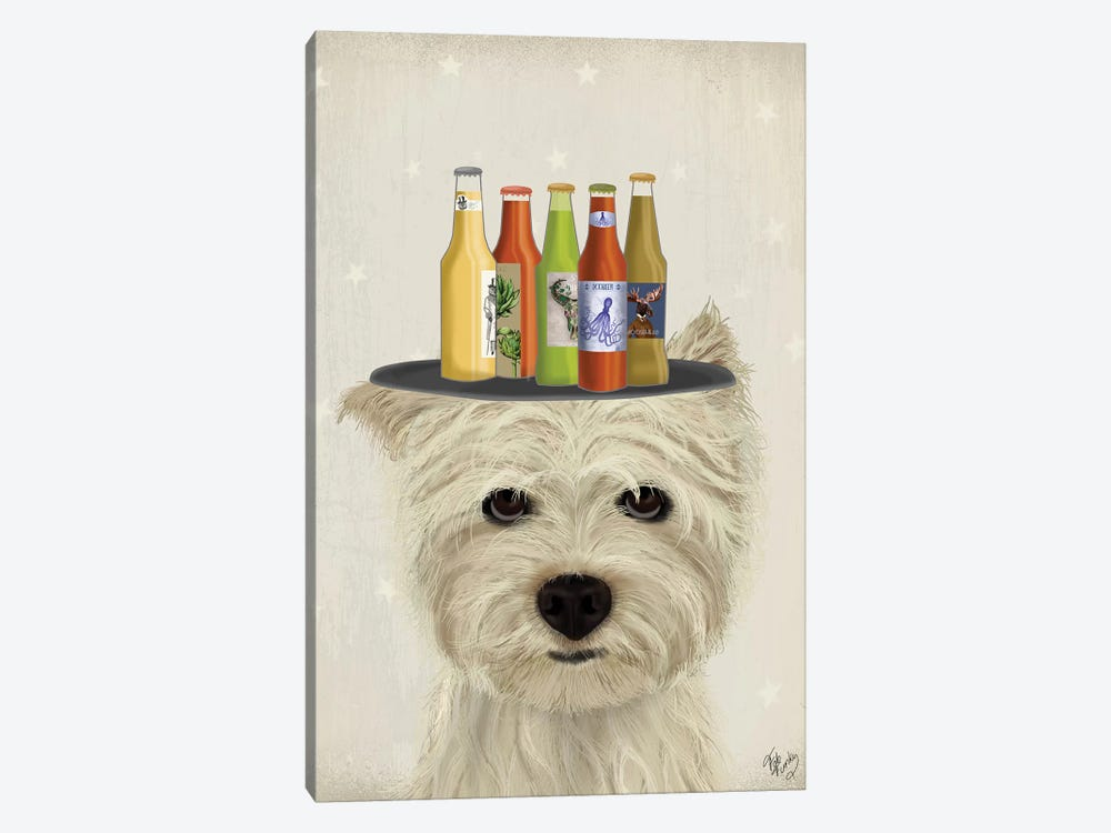West Highland Terrier Beer Lover by Fab Funky 1-piece Art Print