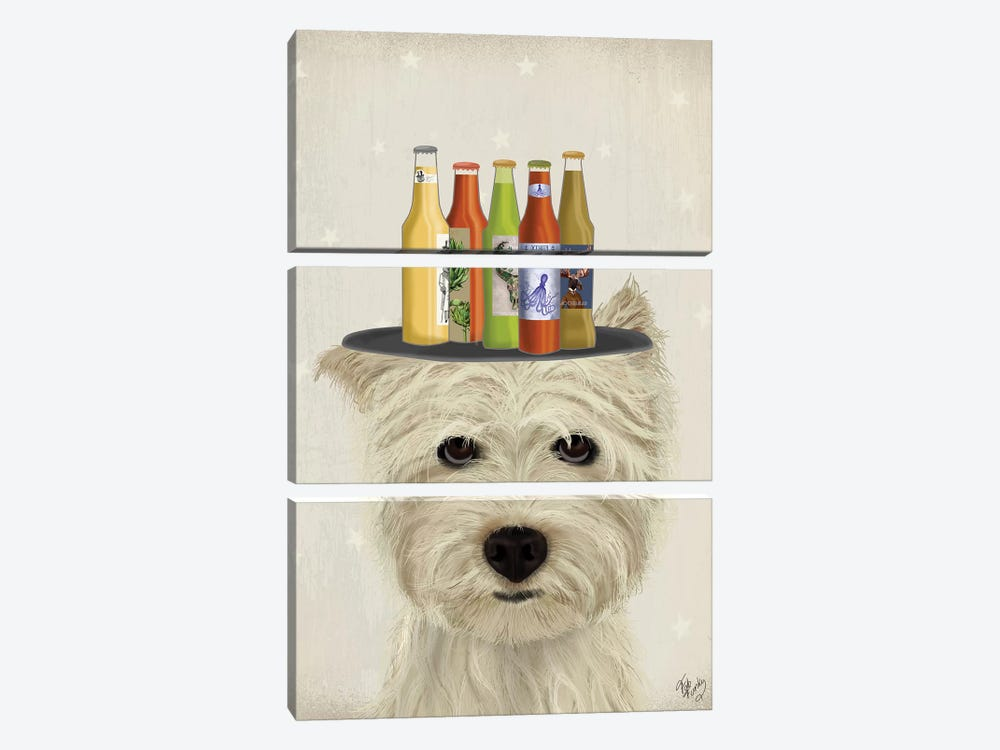 West Highland Terrier Beer Lover by Fab Funky 3-piece Canvas Art Print