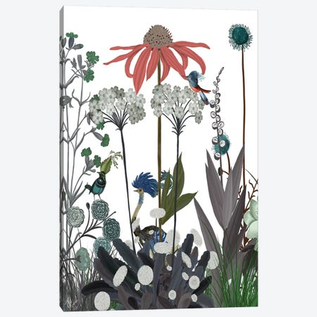 Wildflower Bloom, Ostrich Canvas Print #FNK1919} by Fab Funky Art Print