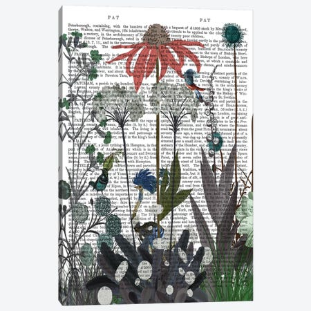 Wildflower Bloom, Ostrich Book Print Canvas Print #FNK1920} by Fab Funky Canvas Artwork