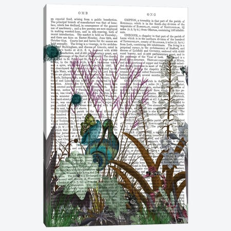 Wildflower Bloom, Snail Bird Book Print 3-Piece Canvas #FNK1928} by Fab Funky Canvas Art