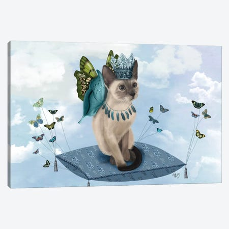 Cat On Pillow With Butterflies II Canvas Print #FNK194} by Fab Funky Art Print