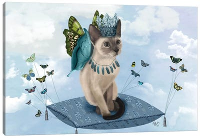 Cat On Pillow With Butterflies II Canvas Art Print