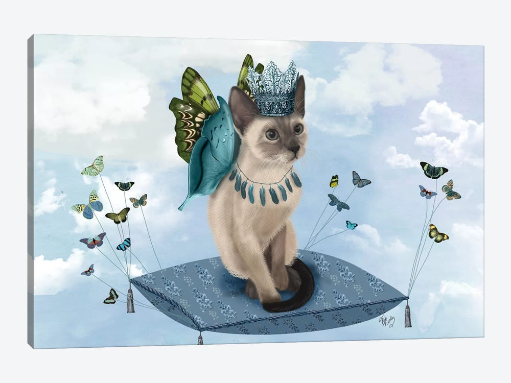 Cat On Pillow With Butterflies II by Fab Funky 1-piece Canvas Art