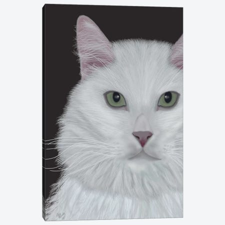 Cat Portrait On Dark Grey II Canvas Print #FNK195} by Fab Funky Art Print