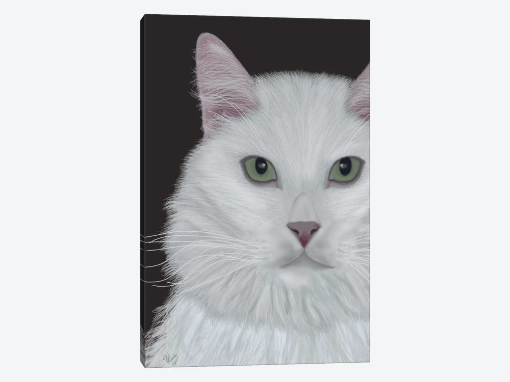 Cat Portrait On Dark Grey II by Fab Funky 1-piece Canvas Art Print