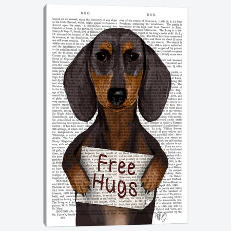 Dachshund, Free Hugs Canvas Print #FNK19} by Fab Funky Canvas Wall Art