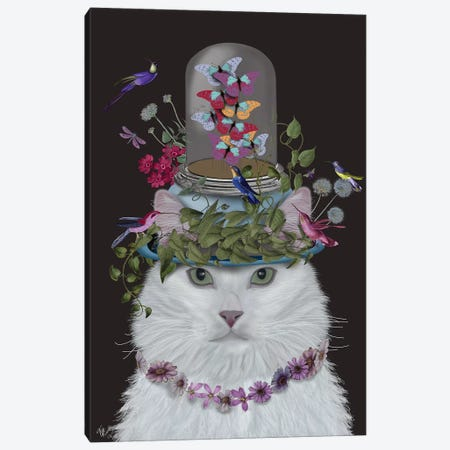 Cat With Butterfly Bell Jar III Canvas Print #FNK202} by Fab Funky Canvas Art