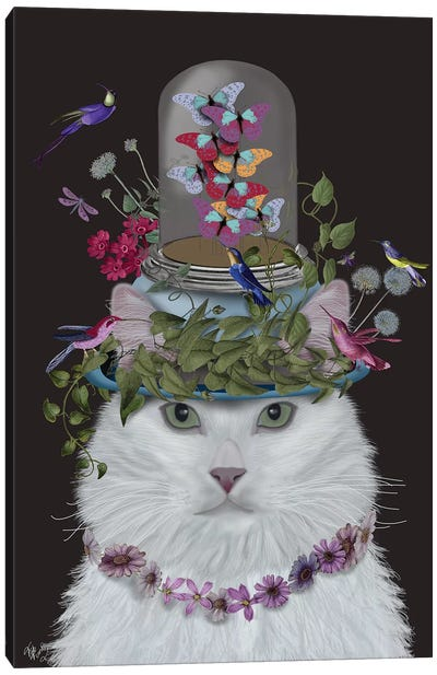 Cat With Butterfly Bell Jar III Canvas Art Print