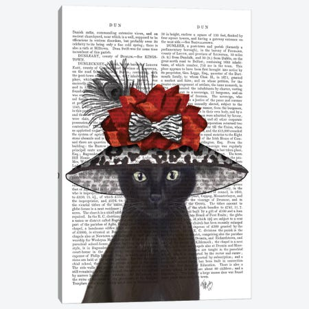 Cat With Fabulous Hat I Canvas Print #FNK203} by Fab Funky Canvas Artwork