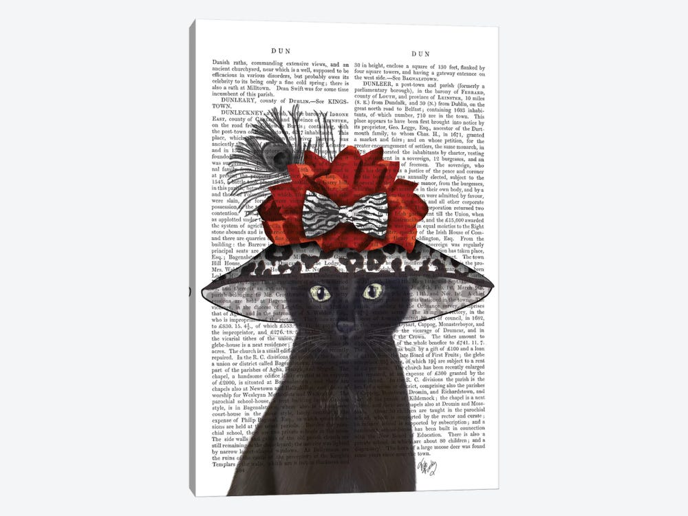 Cat With Fabulous Hat I by Fab Funky 1-piece Canvas Artwork